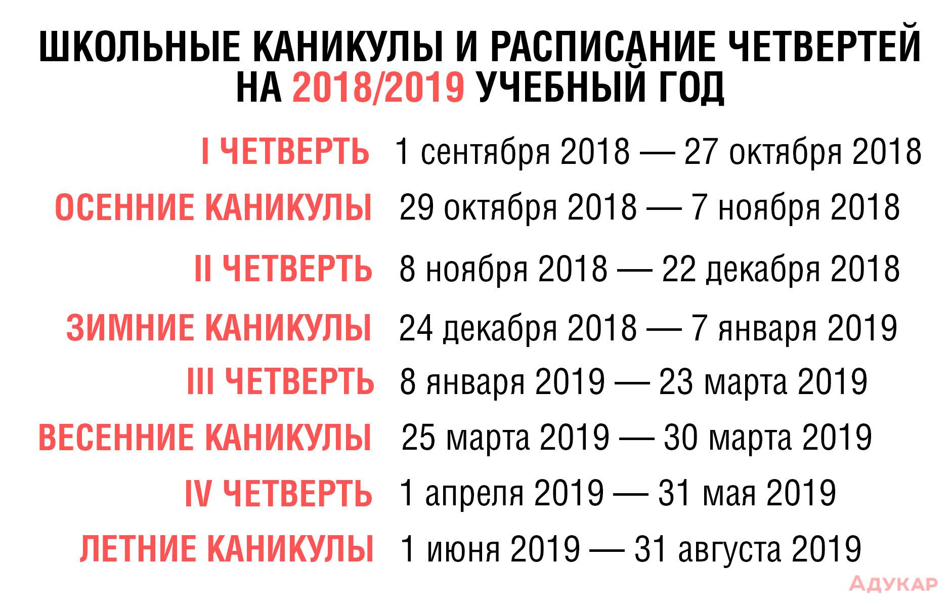 Когда летние каникулы 2019