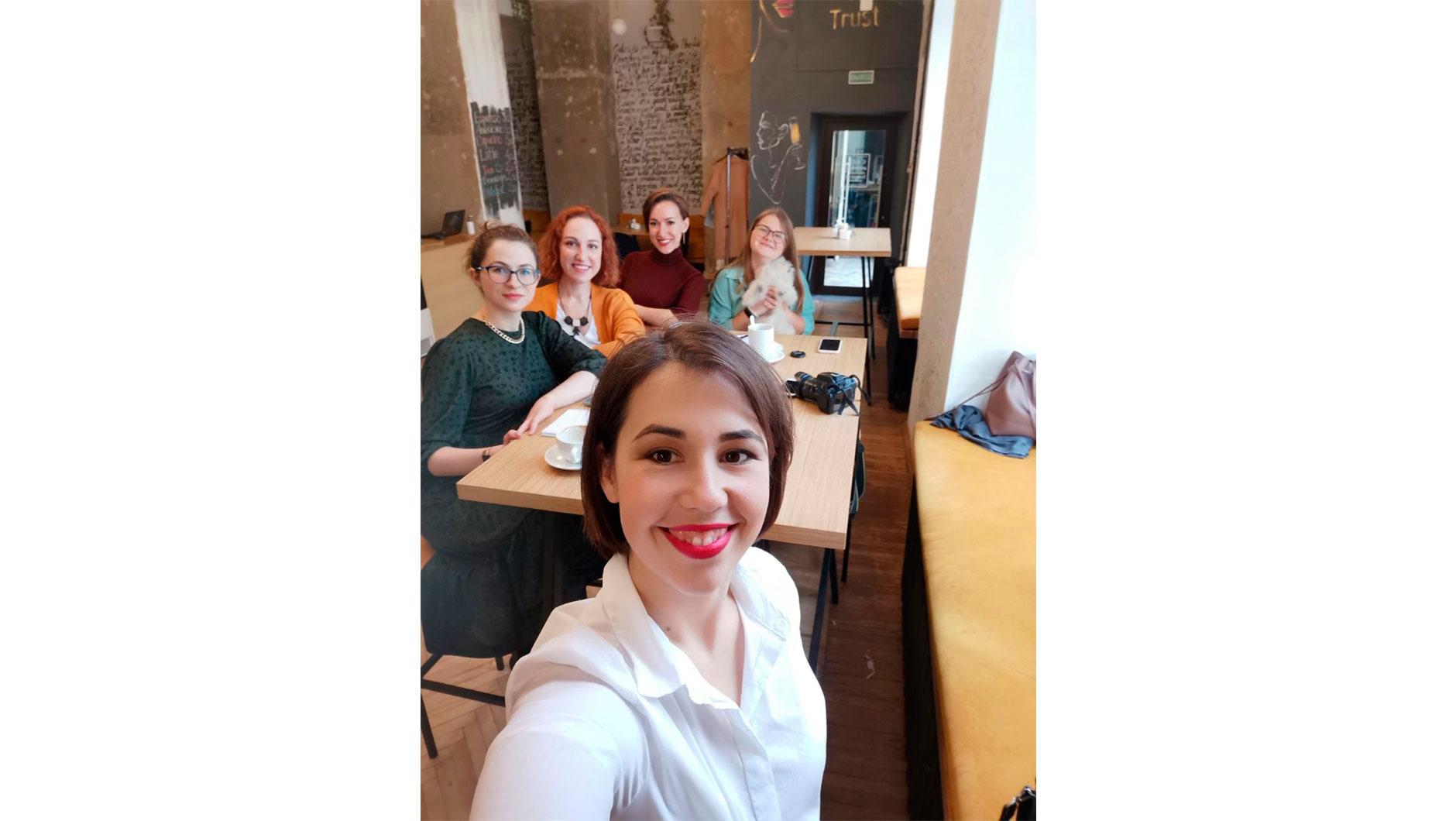 Екатерина на встрече с участниками мастермайнд-группы